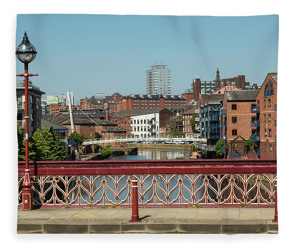 English Culture Fleece Blanket featuring the photograph Leeds Waterfront Developments by P A Thompson