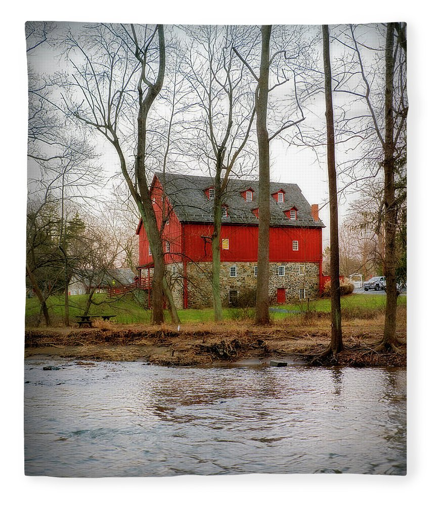 2d Fleece Blanket featuring the photograph Lee's Merchant Mill by Brian Wallace