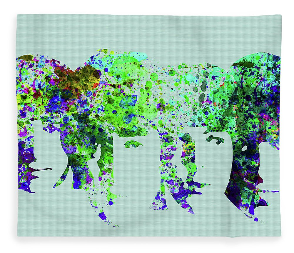 Beatles Fleece Blanket featuring the mixed media Legendary Beetles Watercolor II by Naxart Studio
