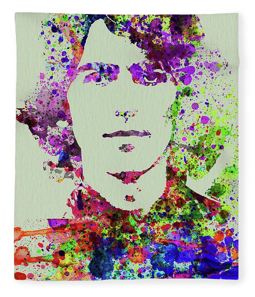 Beatles Fleece Blanket featuring the mixed media Legendary George Harrison Watercolor II by Naxart Studio