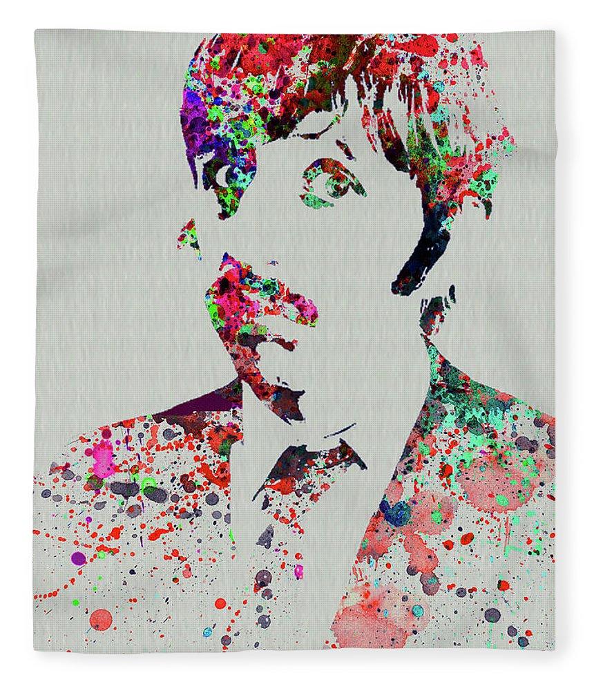Beatles Fleece Blanket featuring the mixed media Legendary George Harrison Watercolor III by Naxart Studio