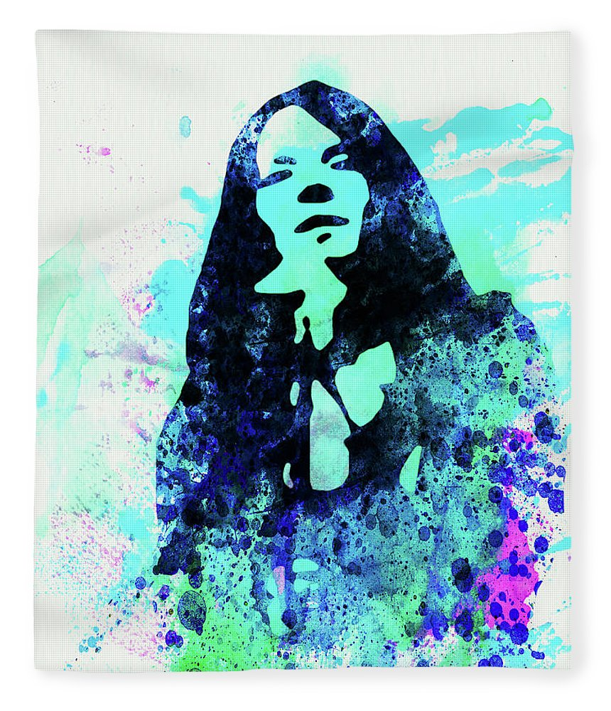 Janis Joplin Fleece Blanket featuring the mixed media Legendary Janis Joplin Watercolor II by Naxart Studio
