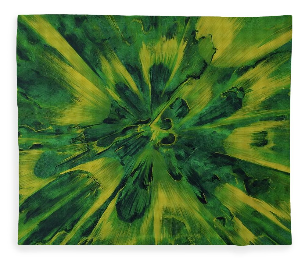 Center Fleece Blanket featuring the painting Lemon And Lime Ejecta by Sean Connolly