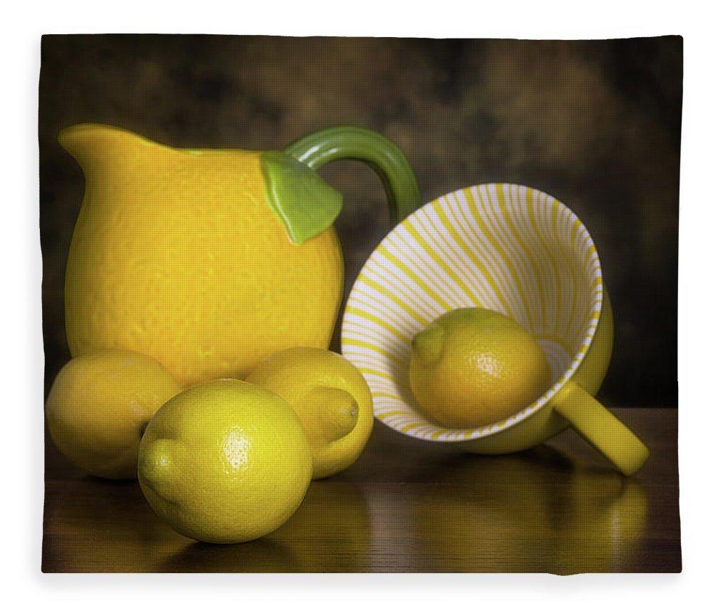 Lemon Fleece Blanket featuring the photograph Lemons With Lemon Shaped Pitcher by Tom Mc Nemar