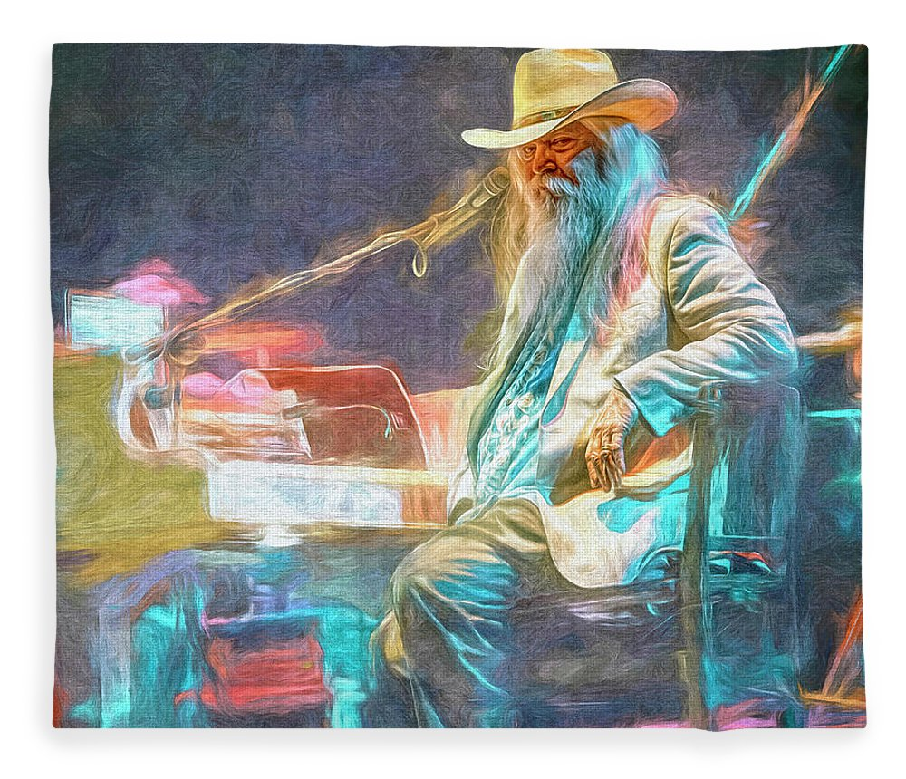 Leon Russell Fleece Blanket featuring the mixed media Leon Russell by Mal Bray