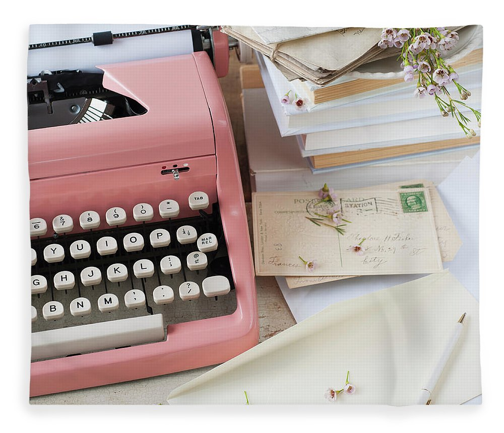 Office Fleece Blanket featuring the photograph Letters By Antique Typewriter by Tetra Images