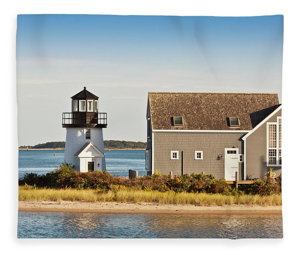 Grass Fleece Blanket featuring the photograph Lewis Bay Lighthouse, Hyannis, Cape by Olegalbinsky