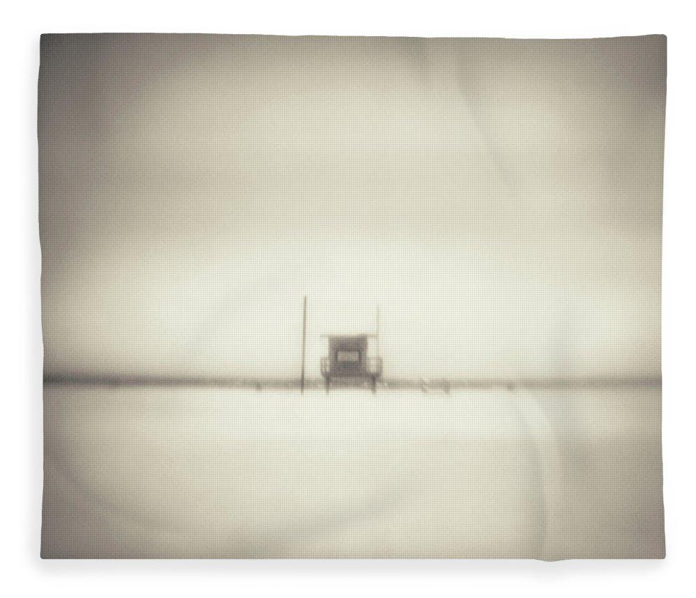 California Fleece Blanket featuring the photograph Lifeguard Hut On Santa Monica Beach by Alan Horsager
