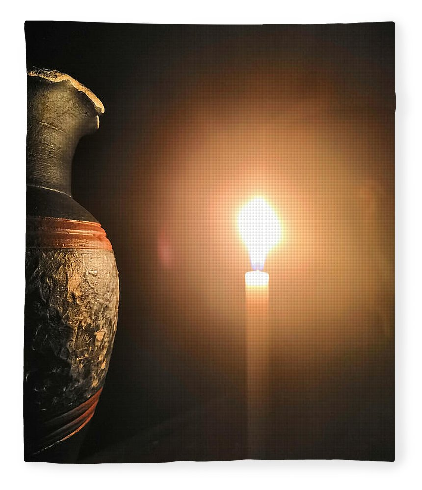 Candle Light Fleece Blanket featuring the photograph Light In The Dark by Ian Batanda