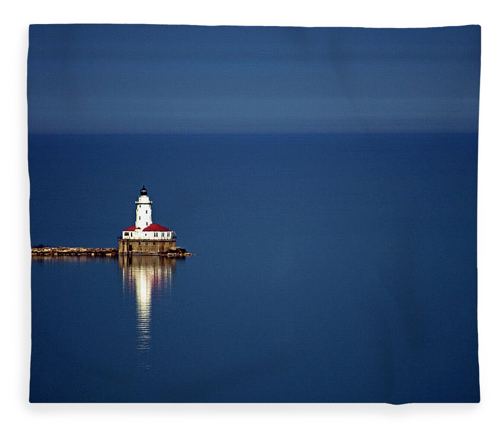 Outdoors Fleece Blanket featuring the photograph Lighthouse On A Lake by By Ken Ilio