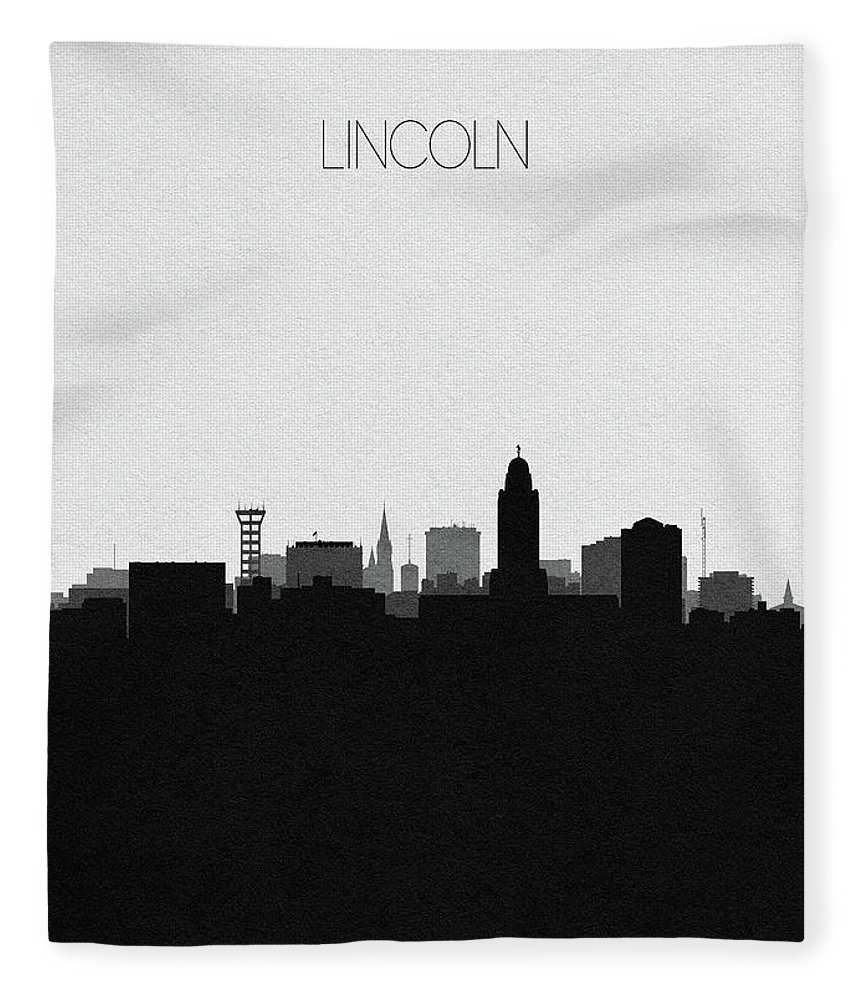 Lincoln Fleece Blanket featuring the digital art Lincoln Cityscape Art by Inspirowl Design