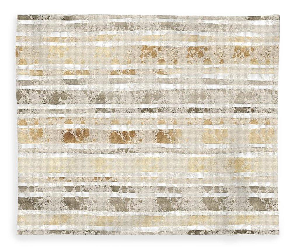 Amanda Lakey Fleece Blanket featuring the mixed media Linear Lines Sandy Pattern by Amanda Lakey