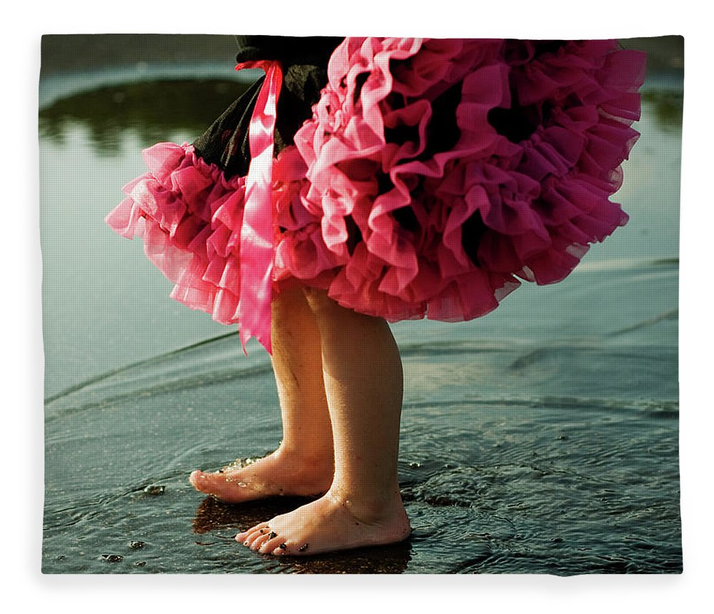 Toddler Fleece Blanket featuring the photograph Little Girls Feet Splashing And Dancing by Ssj414