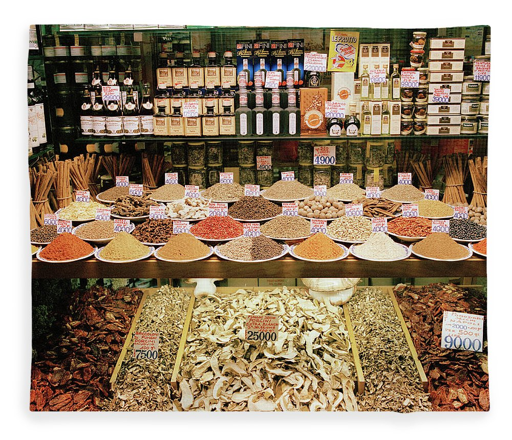 Italian Food Fleece Blanket featuring the photograph Local Foods For Sale In A Store In by Cultura Exclusive/philip Lee Harvey