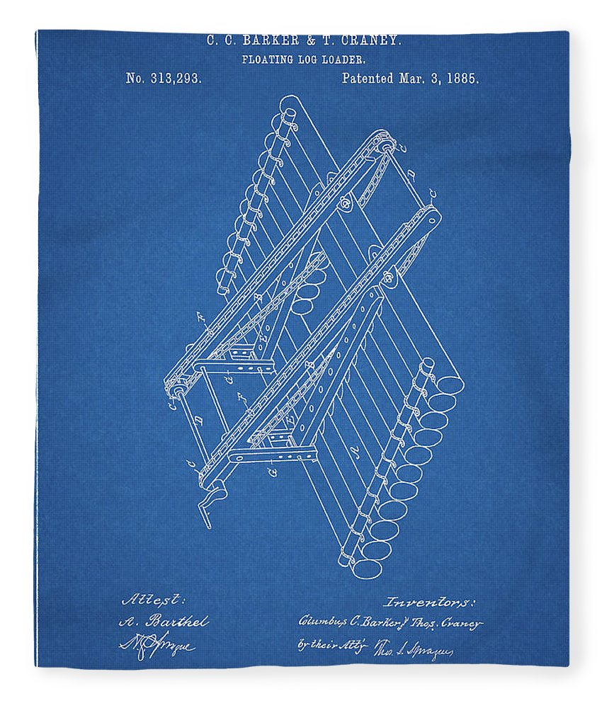 Log Loader Patent Fleece Blanket featuring the drawing Log Loader Patent by Dan Sproul