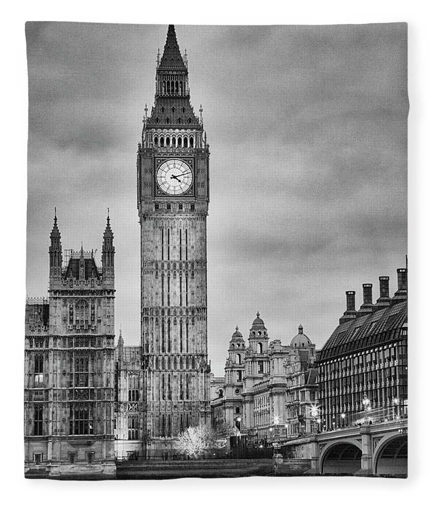 Clock Tower Fleece Blanket featuring the photograph London, Big Ben, Black And White by Elisabeth Pollaert Smith