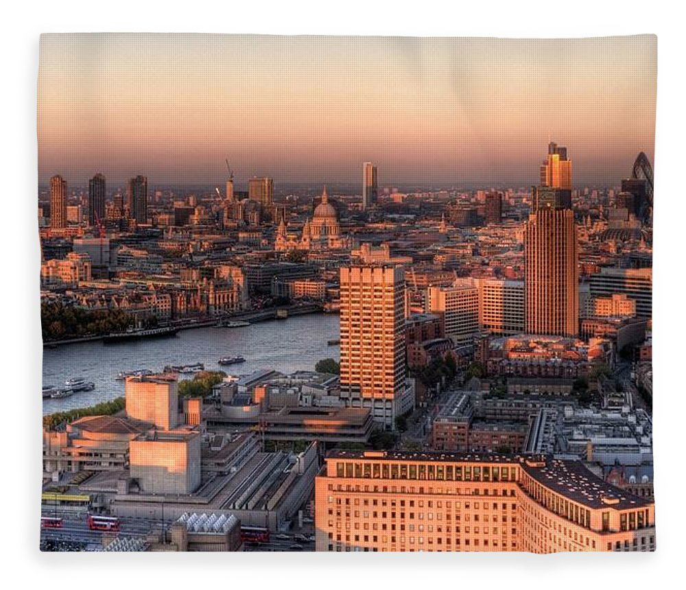 Cityscape Fleece Blanket featuring the photograph London Cityscape At Sunset by Michael Lee