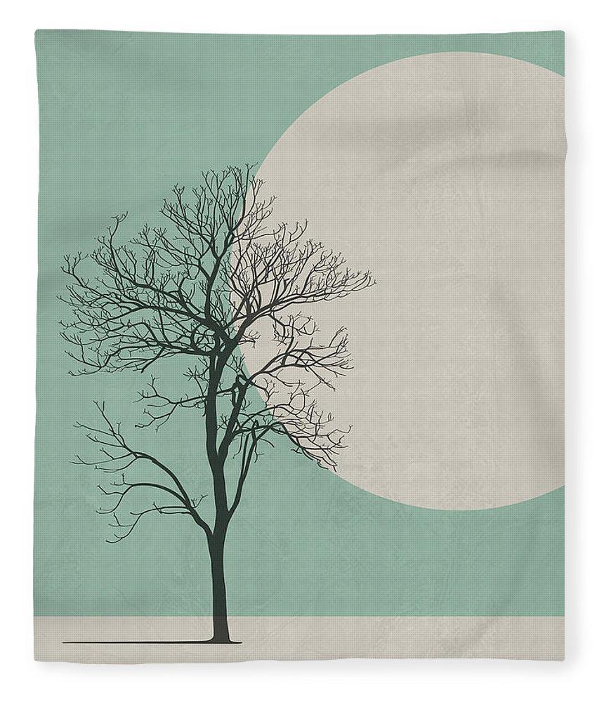 Botanical Fleece Blanket featuring the digital art Lonely Tree by Naxart Studio