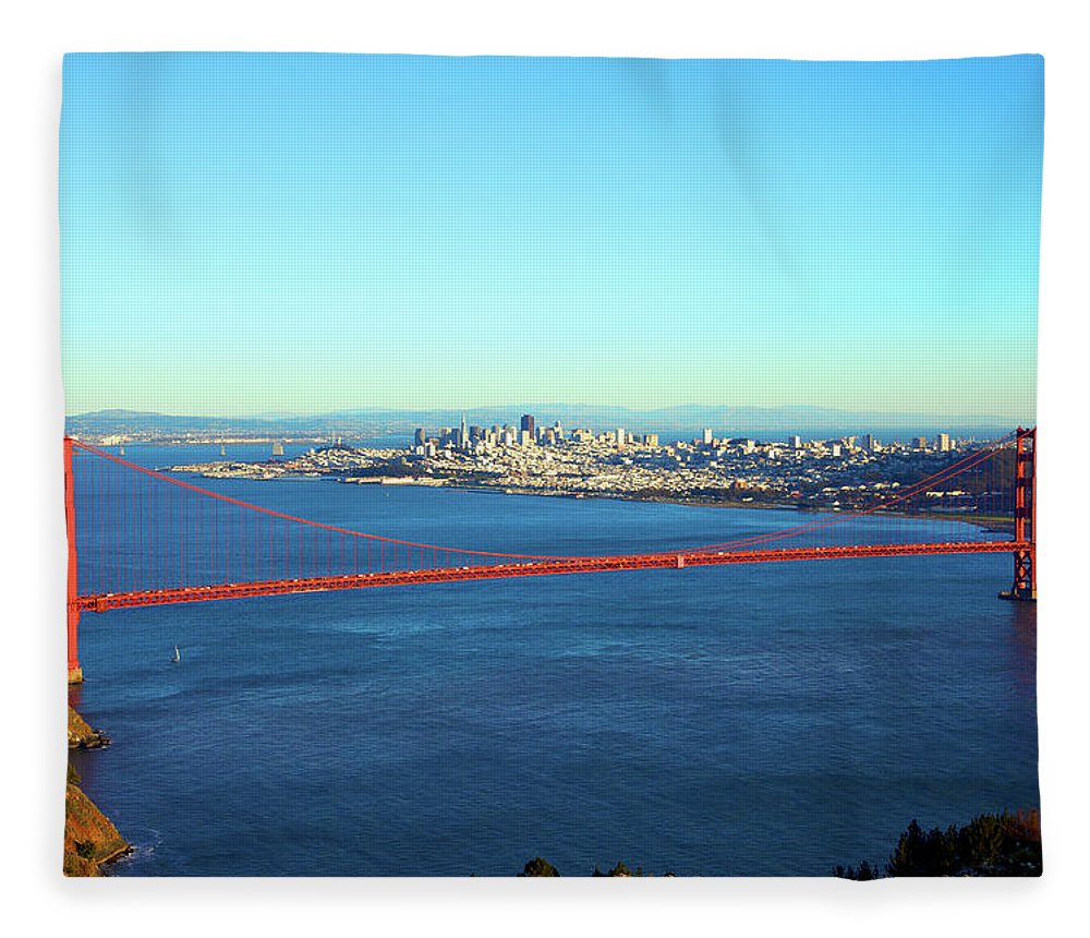 Downtown District Fleece Blanket featuring the photograph Looking Down At The San Francisco Bridge by Ekash