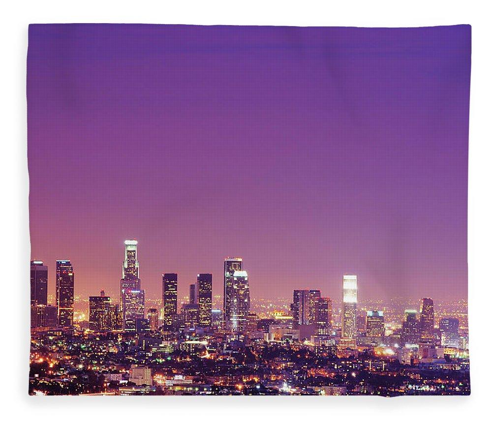 Clear Sky Fleece Blanket featuring the photograph Los Angeles At Dusk by Dj Murdok Photos