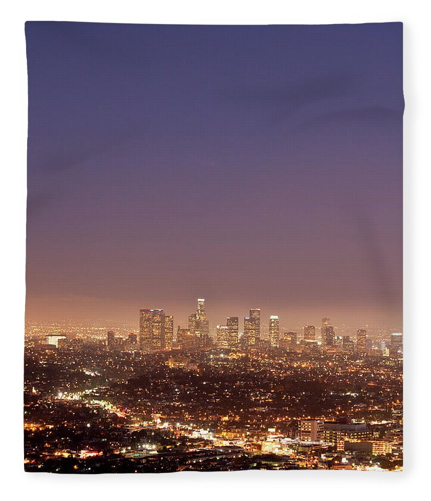Scenics Fleece Blanket featuring the photograph Los Angeles Skyline At Twilight by Uschools