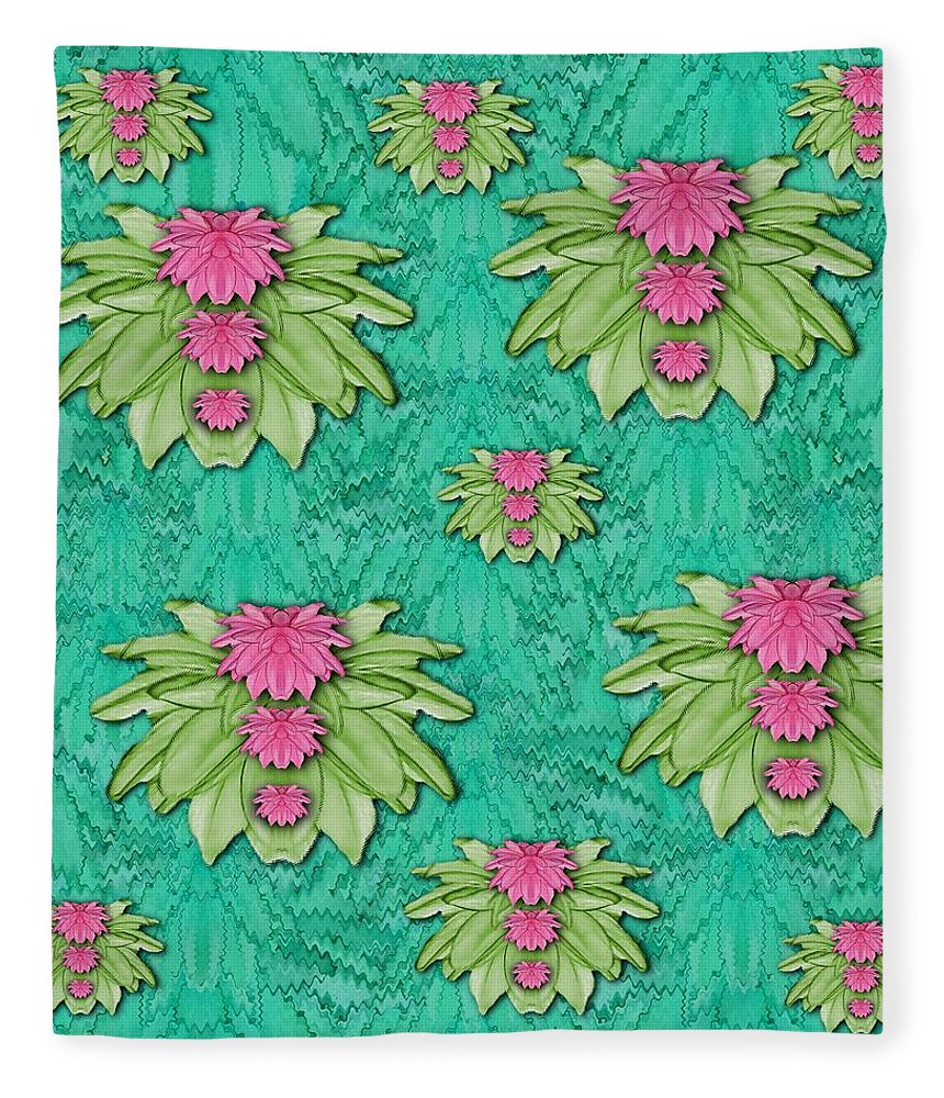 Flower Fleece Blanket featuring the mixed media Lotus Bloom In The Sacred Soft Warm Sea by Pepita Selles
