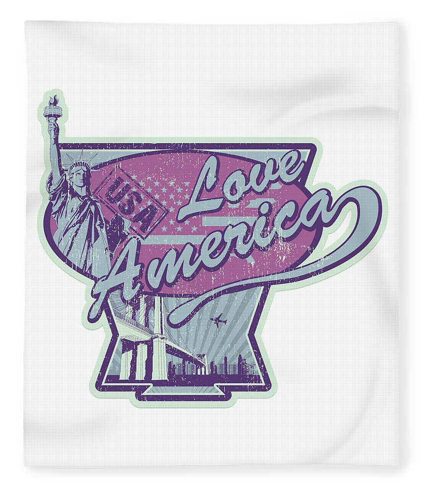 Veterans-day Fleece Blanket featuring the digital art Love American Usa Statue Of Liberty by Passion Loft