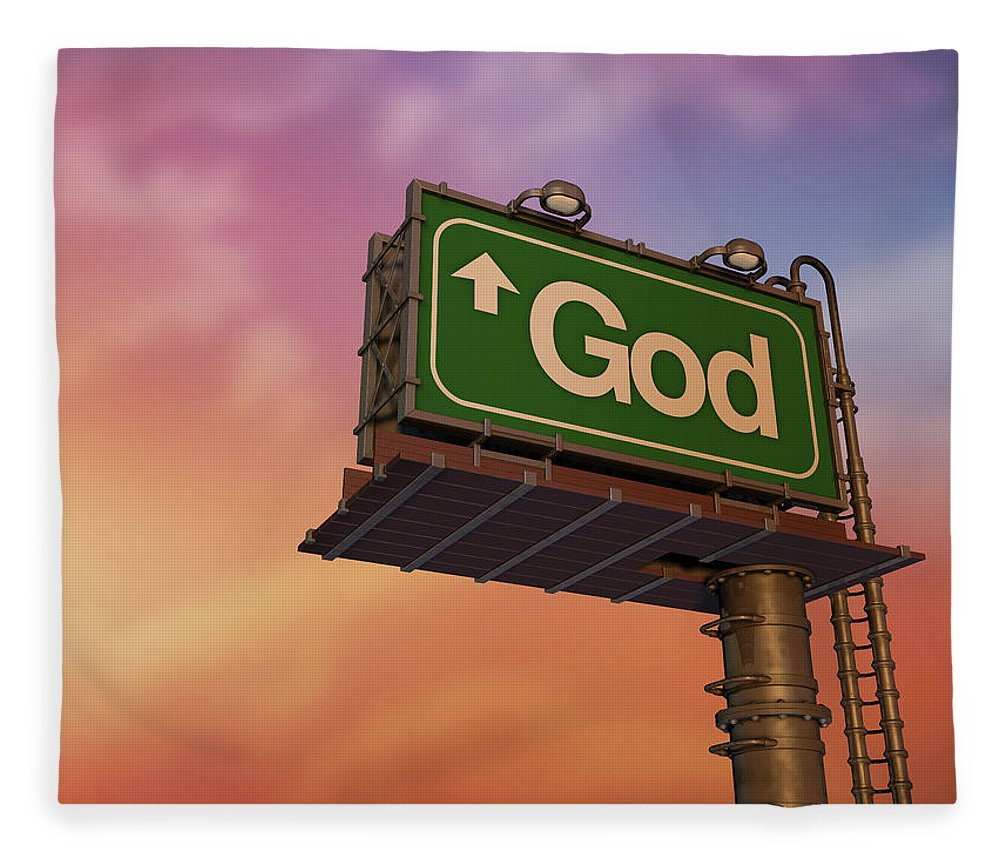 Information Medium Fleece Blanket featuring the photograph Low Angle View Of A God Billboard At by Philpell