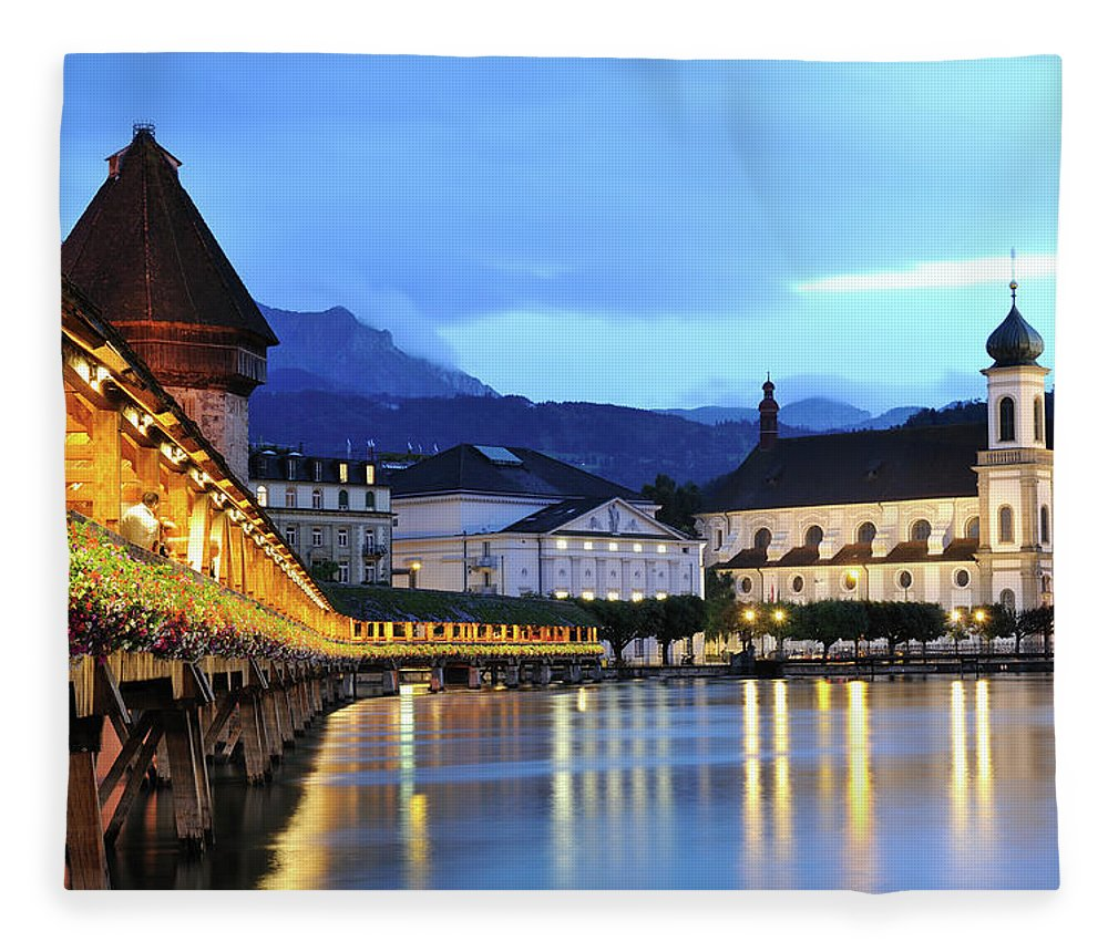 Built Structure Fleece Blanket featuring the photograph Lucerne At Dusk by Aimintang