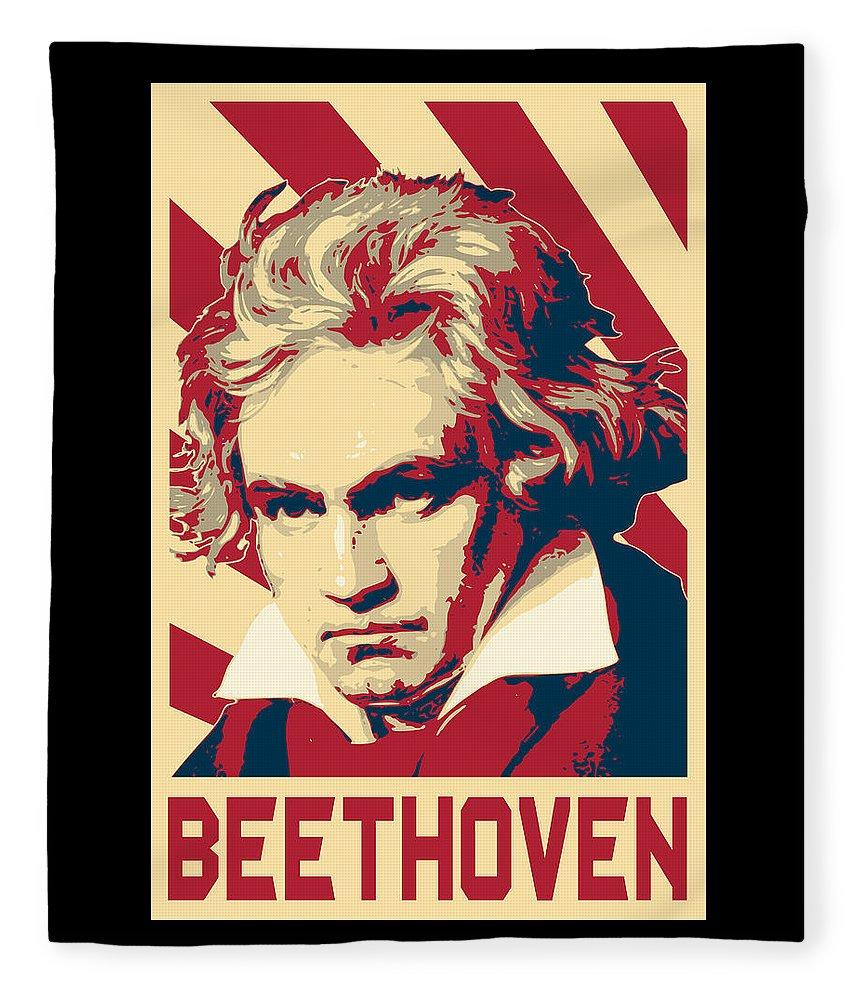 Beethoven Fleece Blanket featuring the digital art Ludwig Van Beethoven Retro Propaganda by Filip Hellman