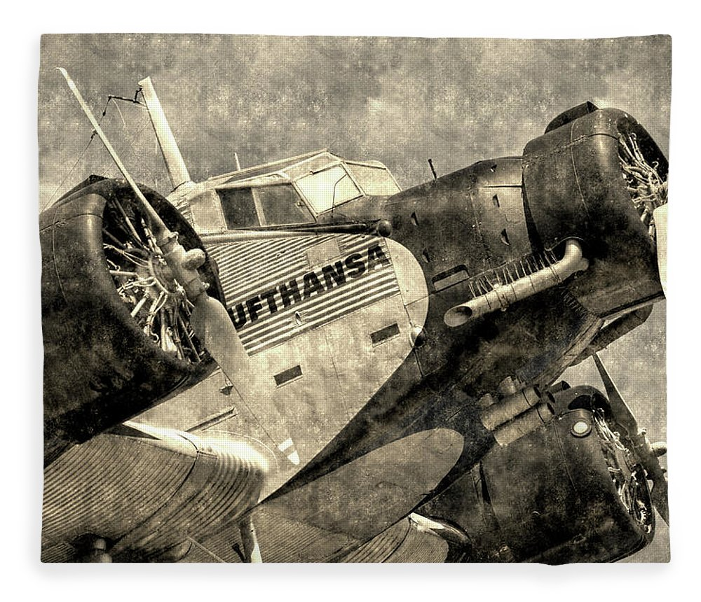 Ww2 Vintage Photo Fleece Blanket featuring the photograph Lufthansa Junkers Ju 52 Vintage by David Pyatt