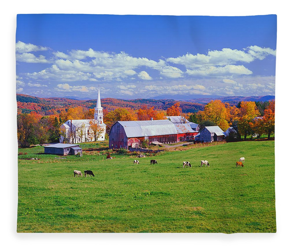 Scenics Fleece Blanket featuring the photograph Lush Autumn Countryside In Vermont With by Ron thomas