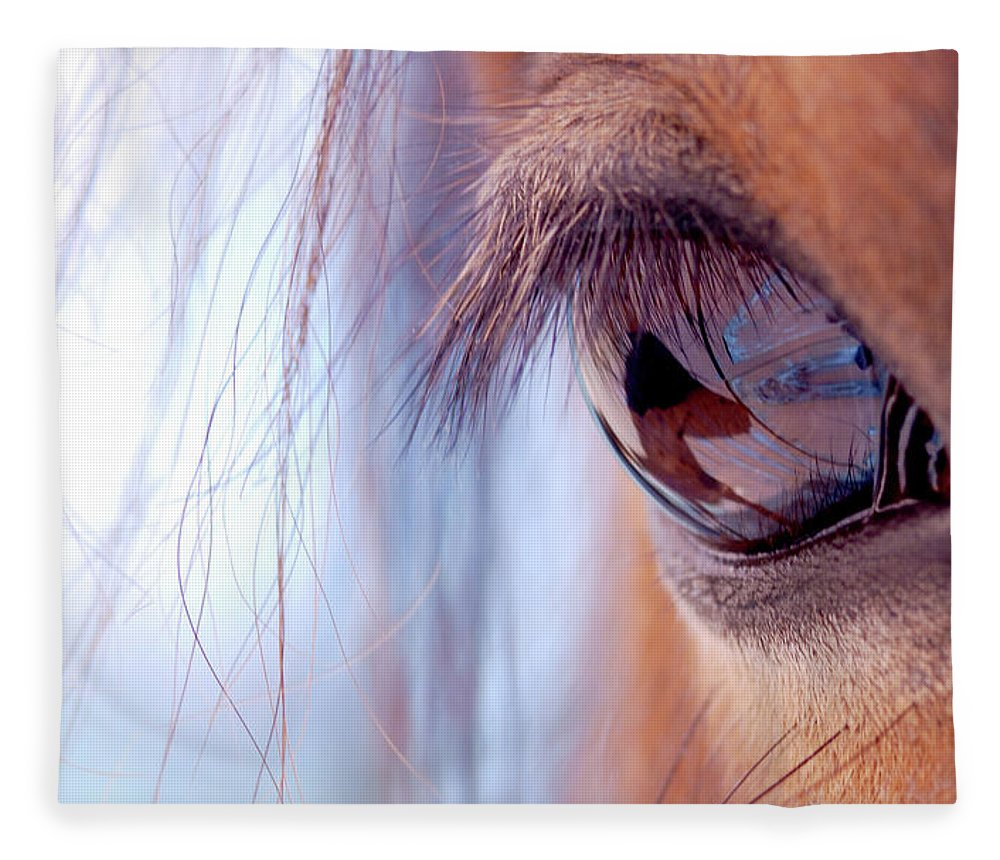 Horse Fleece Blanket featuring the photograph Macro Of Horse Eye by Anne Louise Macdonald Of Hug A Horse Farm
