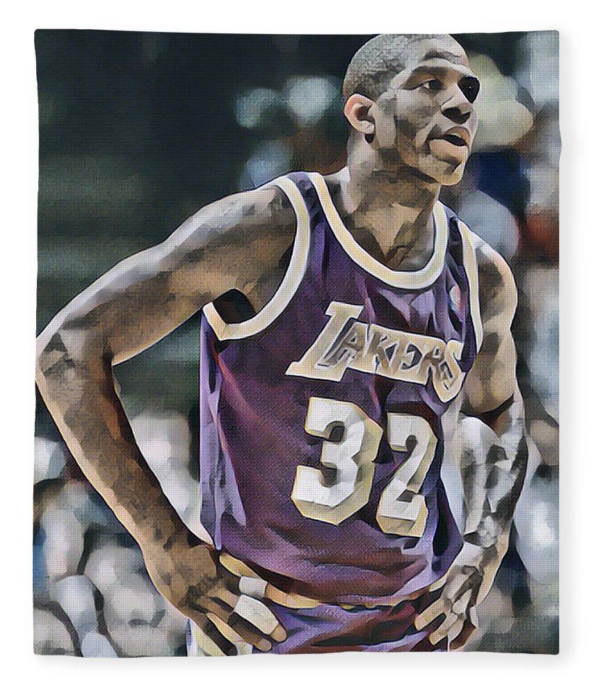 Magic Johnson Fleece Blanket featuring the mixed media Magic Johnson Los Angeles Lakers Abstract Art by Joe Hamilton