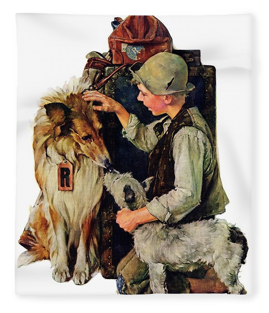 Boy Fleece Blanket featuring the drawing Making Friends by Norman Rockwell