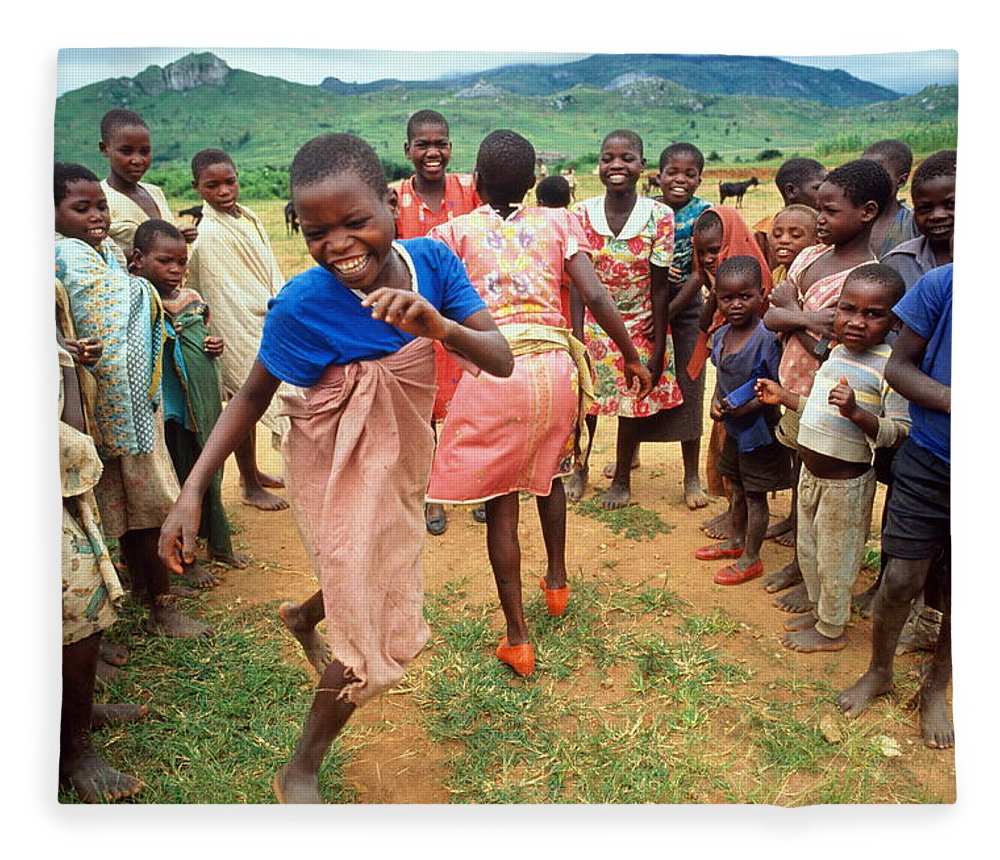 Human Settlement Fleece Blanket featuring the photograph Malawi,mapira Refugee Camp,children by Penny Tweedie