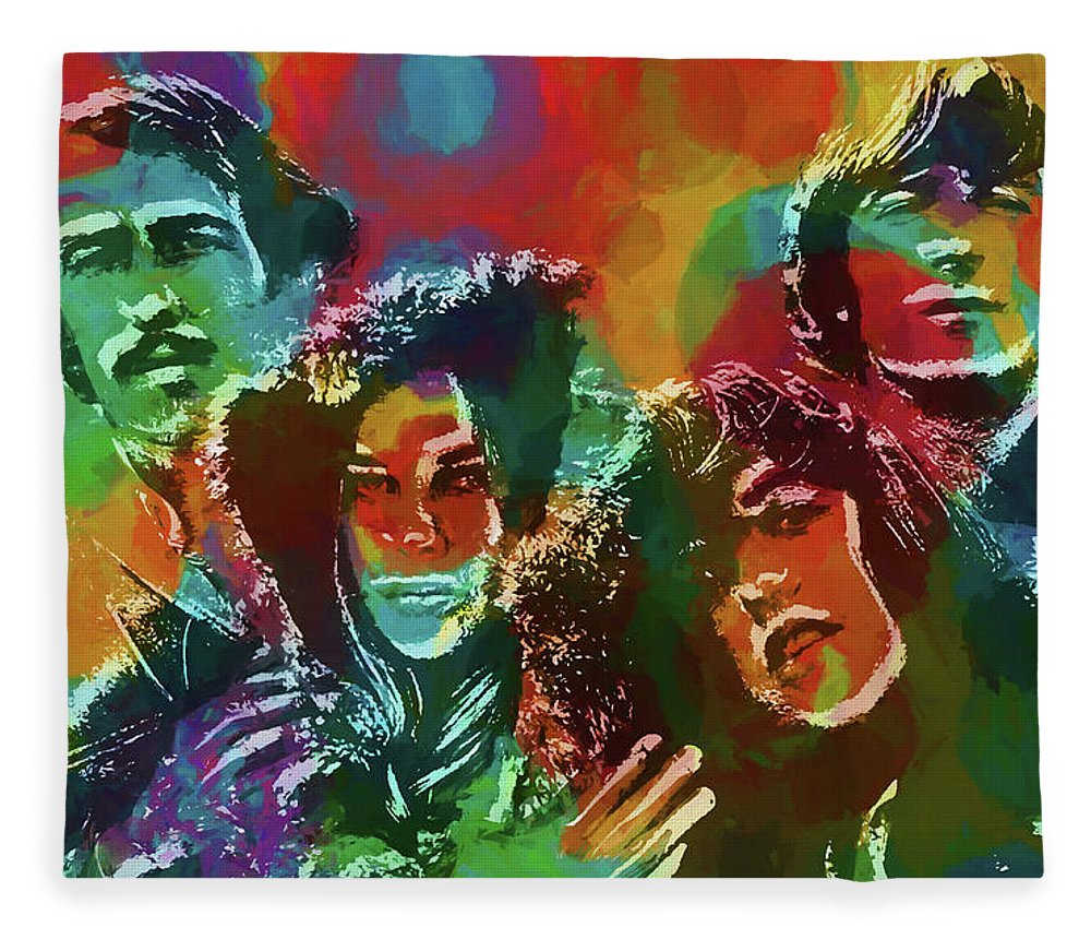 Mamas And The Papas Fleece Blanket featuring the painting Mamas And The Papas by Dan Sproul