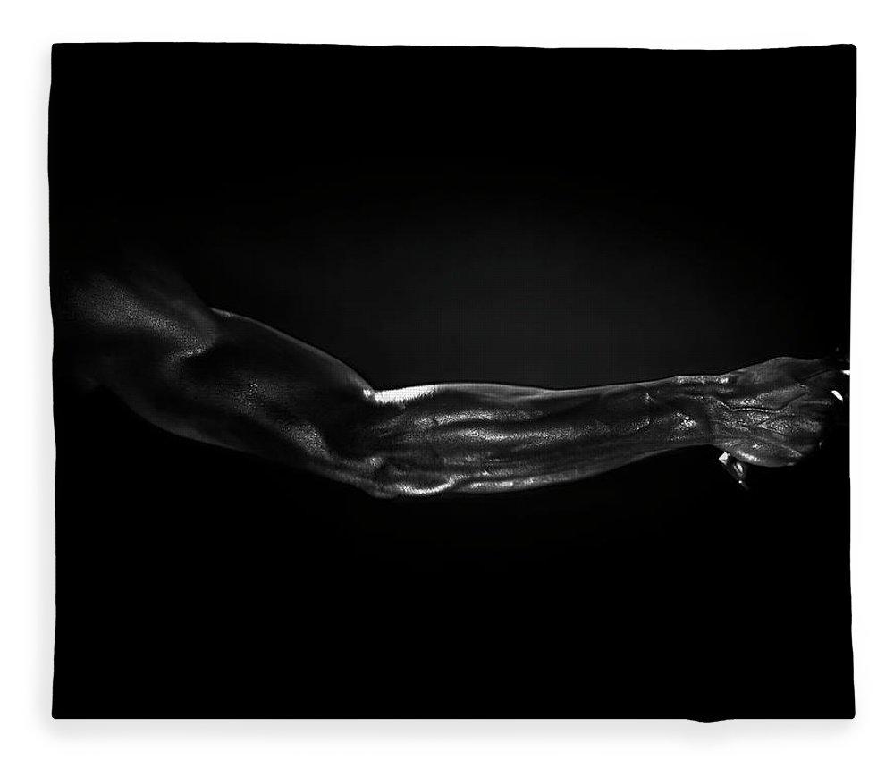 Human Arm Fleece Blanket featuring the photograph Man Holding Tennis Racket, B&w Digital by Hans Neleman