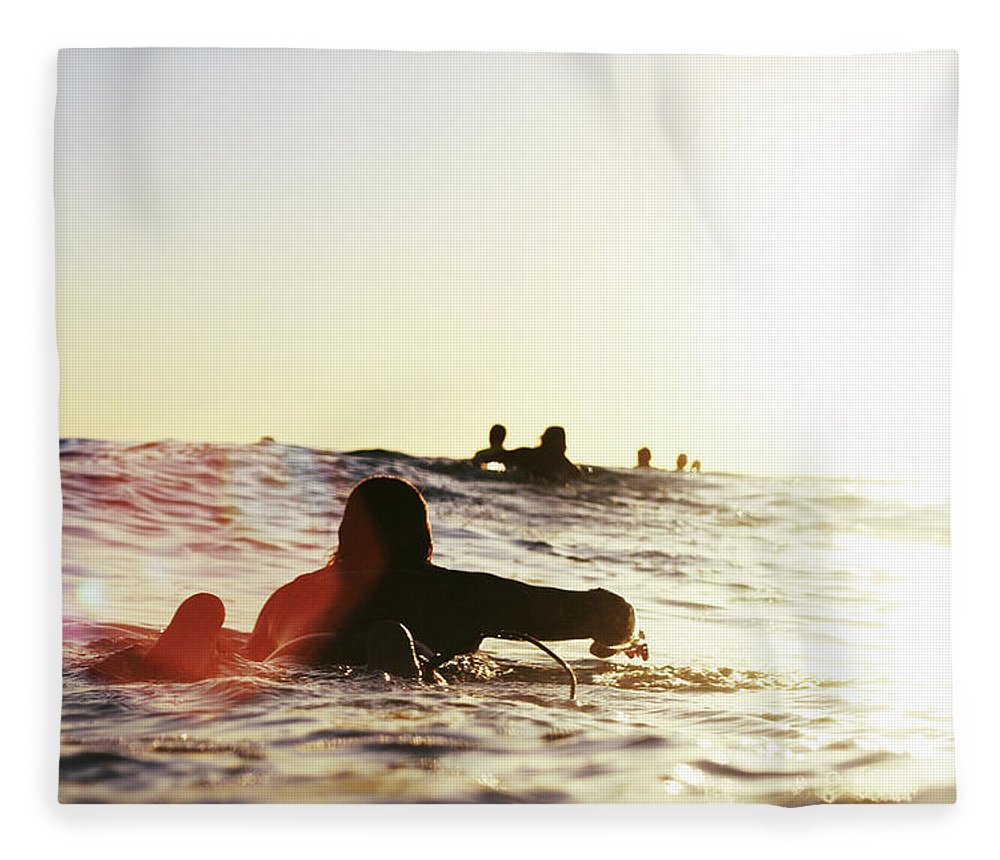 People Fleece Blanket featuring the photograph Man On Surfer Paddle by Photography By Jack De La Mare. 2012