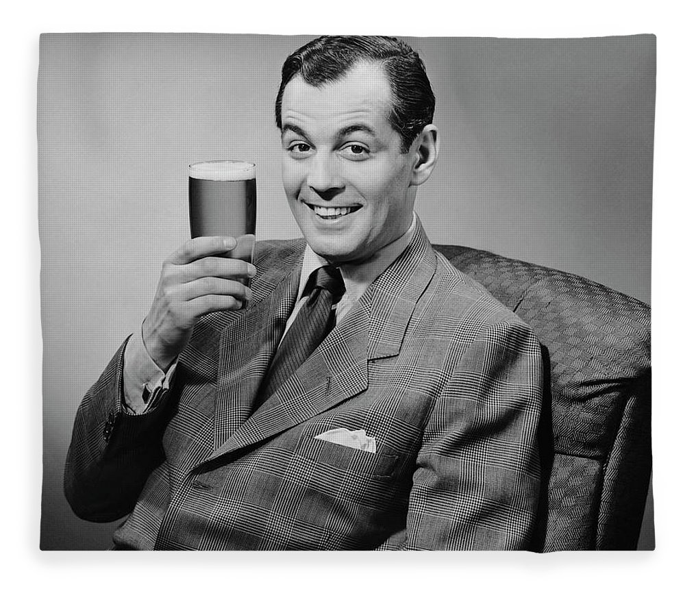Mature Adult Fleece Blanket featuring the photograph Man Sitting & Having A Beer by George Marks