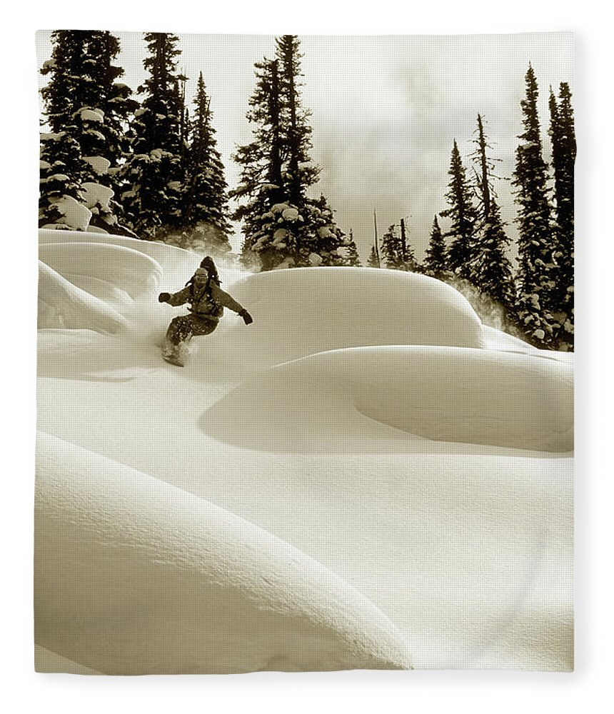 One Man Only Fleece Blanket featuring the photograph Man Snowboarding B&w Sepia Tone by Per Breiehagen
