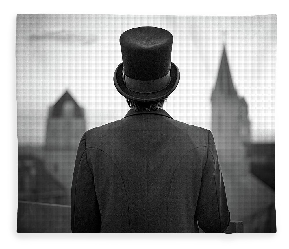 People Fleece Blanket featuring the photograph Man Standing Front Of Cathedral by Eddie O'bryan