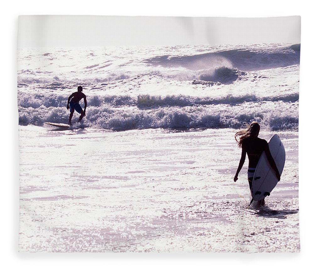 Wind Fleece Blanket featuring the photograph Man Surfing On Sea, Woman Walking With by Johner Images