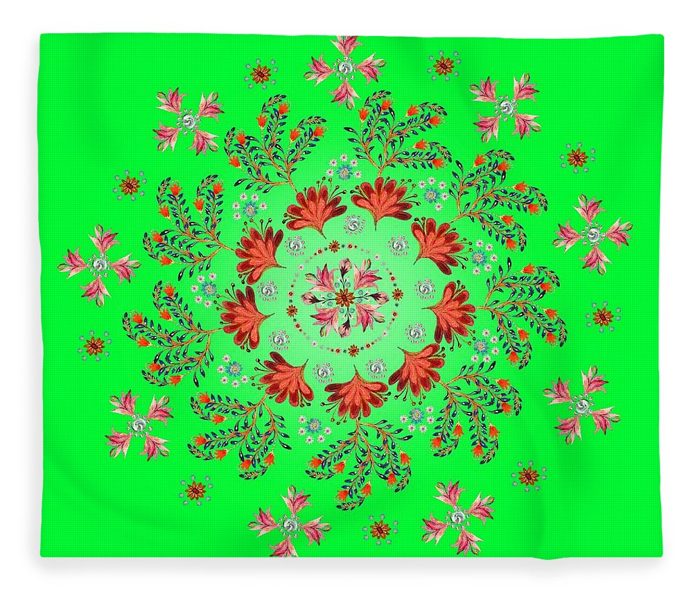 Mandala Fleece Blanket featuring the digital art Mandala Flowering Series#3. Green by Elena Kotliarker