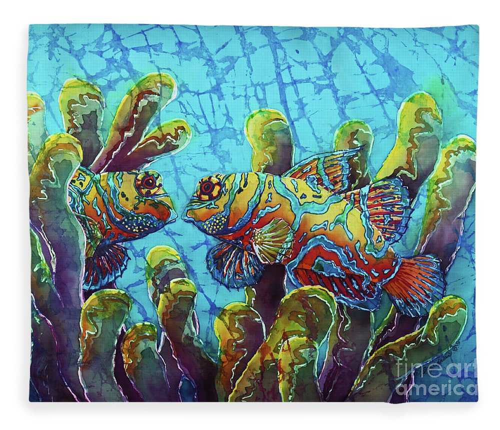Mandarinfish Fleece Blanket featuring the painting Mandarinfish by Sue Duda