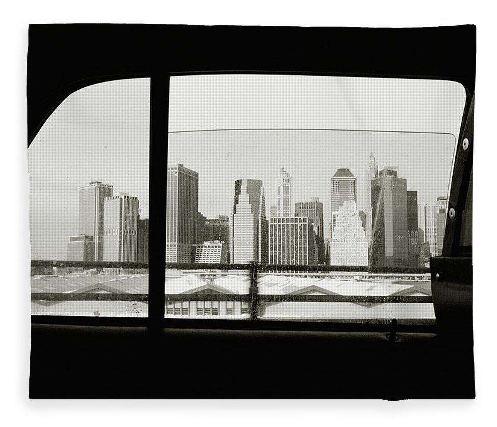 Car Interior Fleece Blanket featuring the photograph Manhattan Through Car Window by Matt Carr
