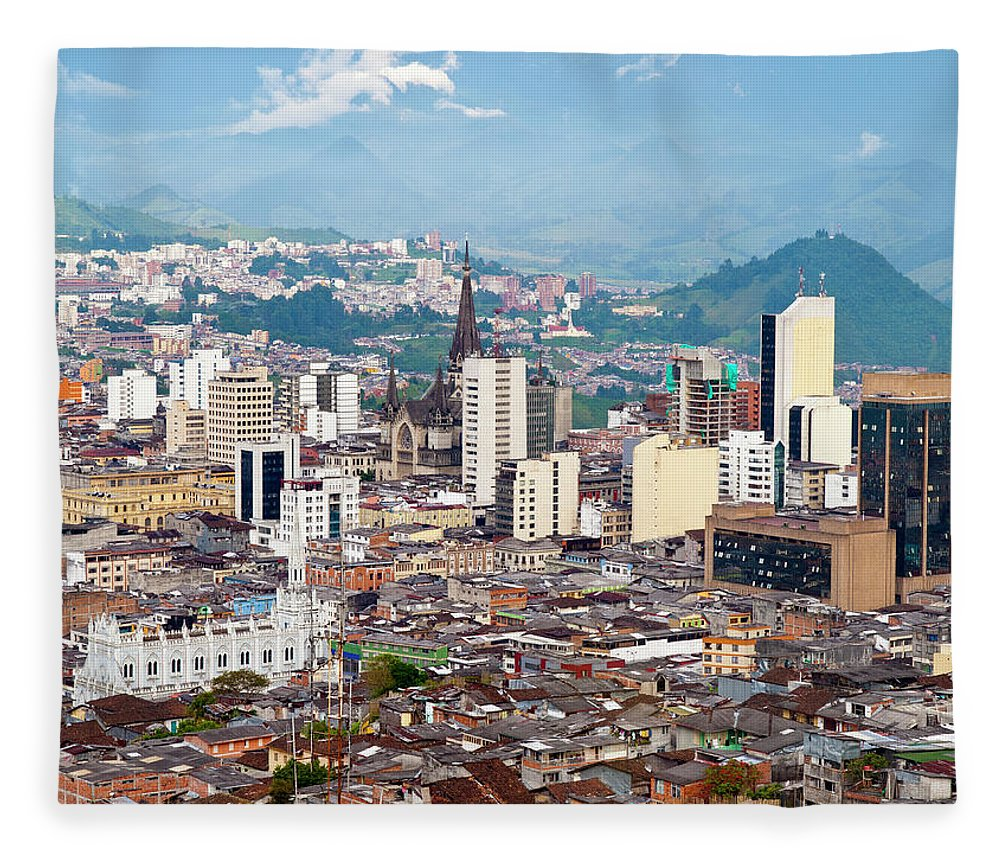 Built Structure Fleece Blanket featuring the photograph Manizales City View, Colombia by Holgs