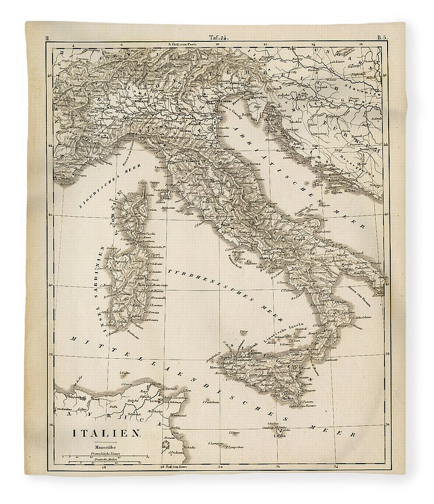 Sicily Fleece Blanket featuring the digital art Map Italy 1840 by Thepalmer