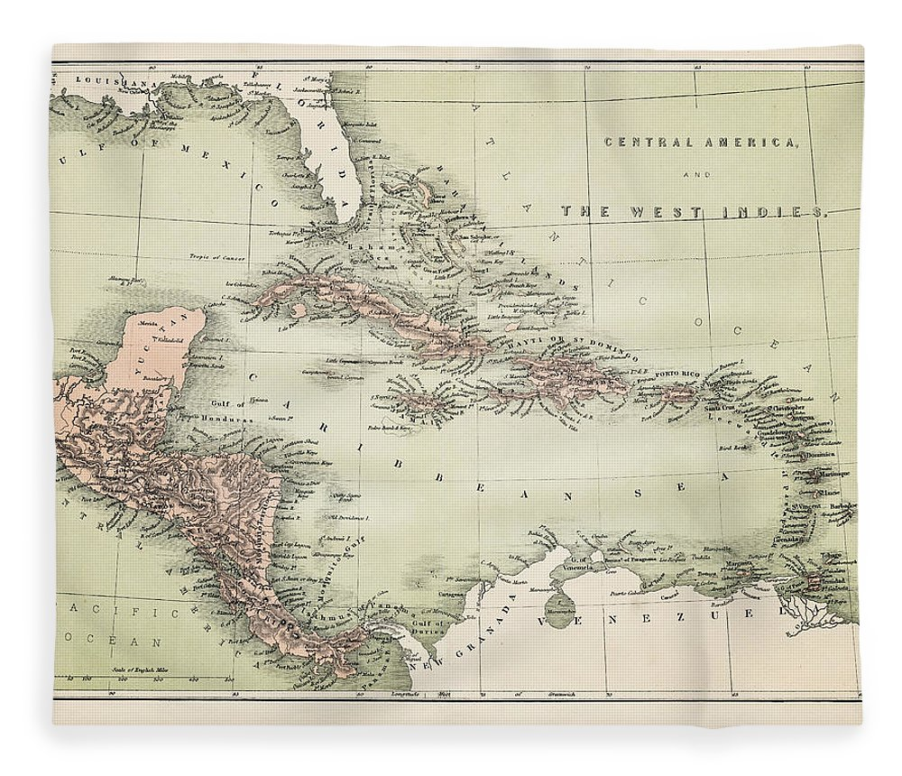Barbados Fleece Blanket featuring the digital art Map Od The Caribbean 1860 by Thepalmer