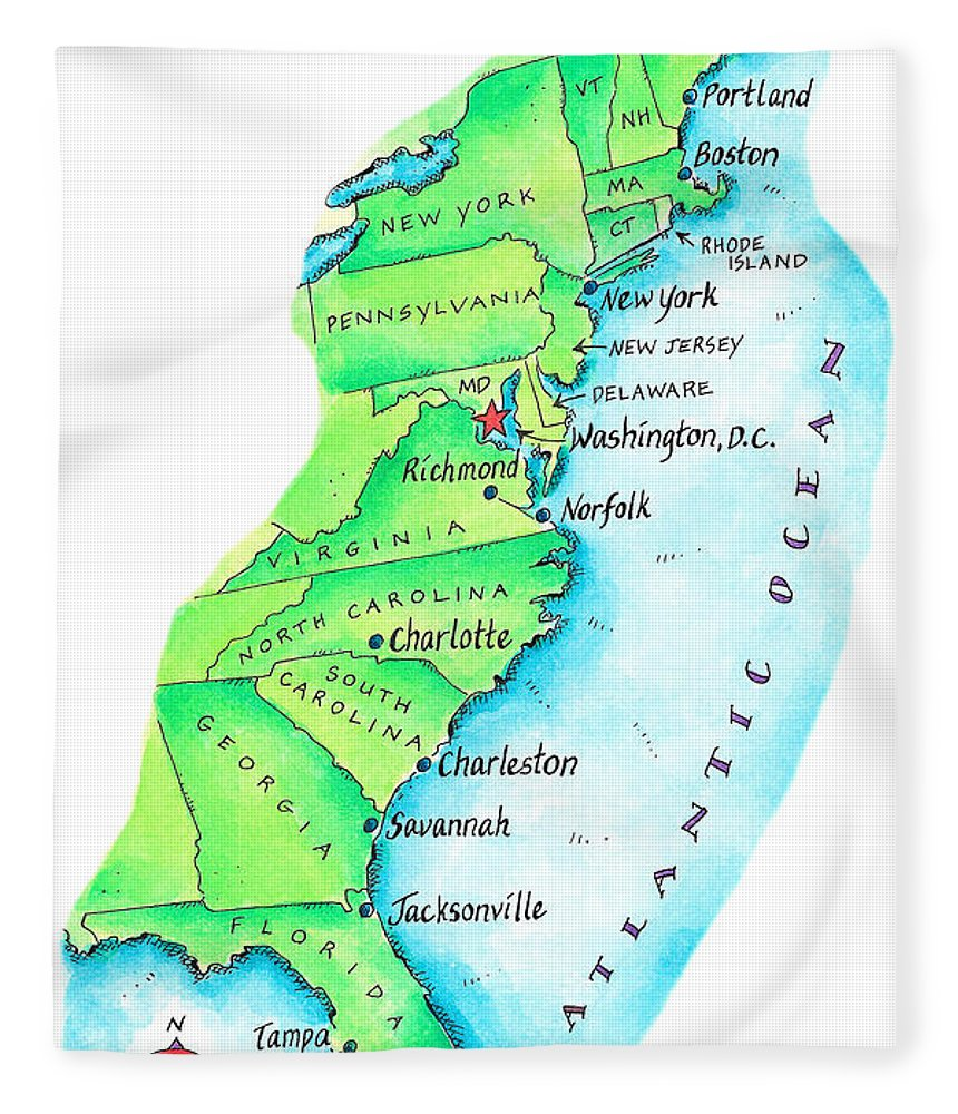 Watercolor Painting Fleece Blanket featuring the digital art Map Of American East Coast by Jennifer Thermes